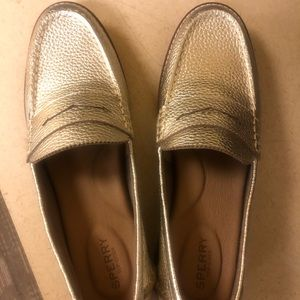 Sperry loafers Gold metallic size 9.5 new